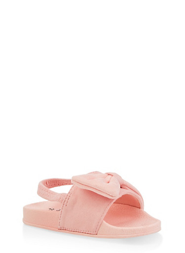 Girls 5-10 Bow Slingback Pool Slides | Blush,BLUSH,large