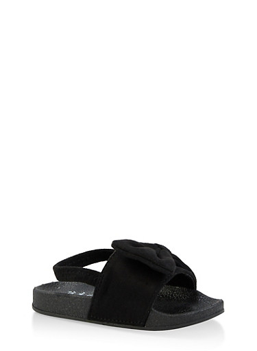 Girls 5-10 Bow Slingback Pool Slides | Black,BLACK,large