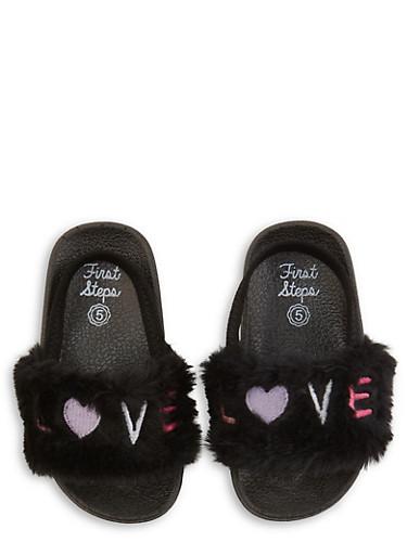 Girls 5-10 Love Faux Fur Slingback Slides | Black,BLACK,large