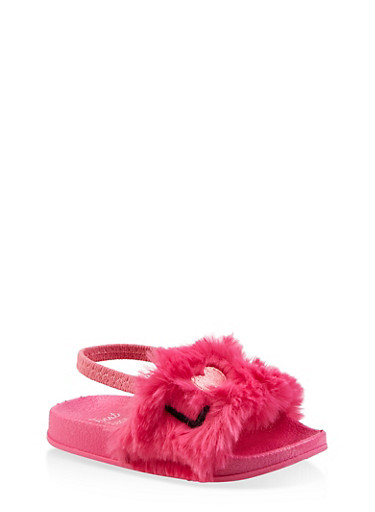 Girls 5-10 Faux Fur Love Embroidered Slingback Slides,NEON PINK,large