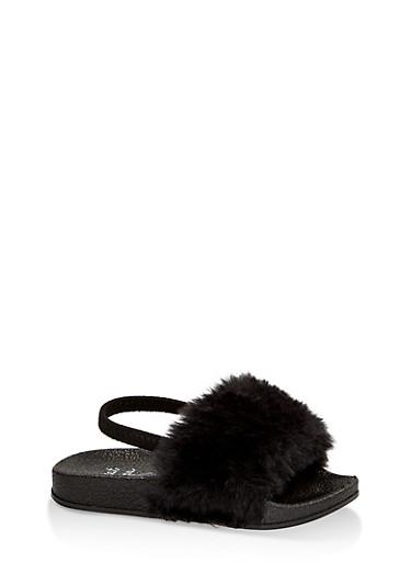 Girls 5-10 Faux Fur Slingback Slides | Black,BLACK,large