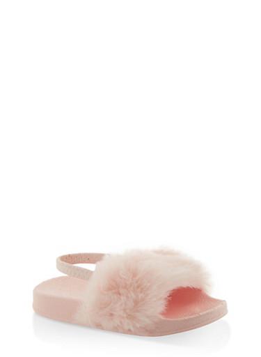 Girls 5-10 Faux Fur Slingback Slides | Pink,PINK,large