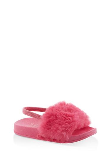Girls 5-10 Faux Fur Slingback Slides | Fuchsia,FUCHSIA,large