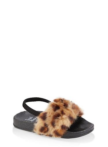 Girls 5-10 Leopard Faux Fur Slingback Slides,TAN,large