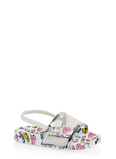 Girls 5-10 Emoji Glitter Band Slingback Slides,WHITE,large