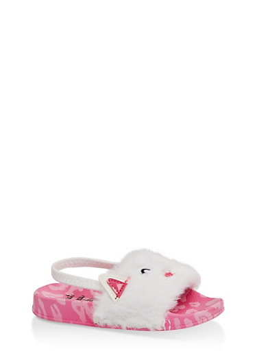 Girls 5-10 Bunny Faux Fur Slingback Slides,NEON PINK,large