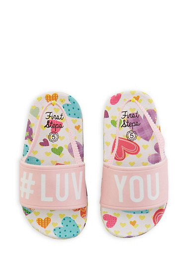 Girls 5-10 Hashtag Luv You Slingback Pool Slides,PINK,large