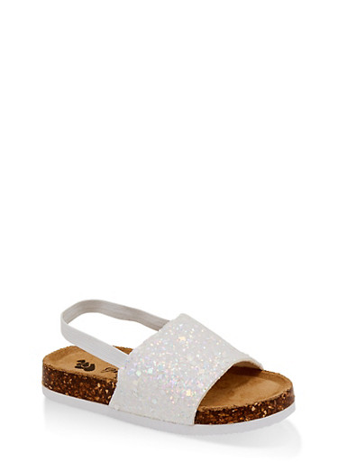 Girls 7-10 Glitter Band Slingback Footbed Sandals,WHITE,large
