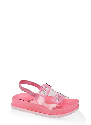 Girls 7-10 Clear Strap Footbed Sandals,NEON PINK,large