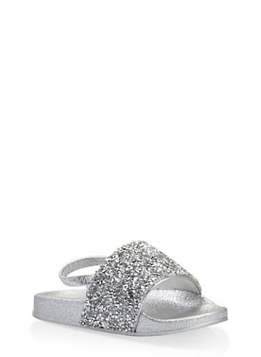 Girls 5-10 Rhinestone Encrusted Slingback Slides,SILVER,large