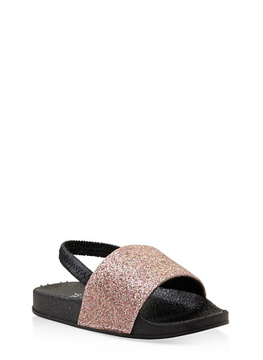 Girls 5-10 Glitter Slingback Slides,BLACK,large