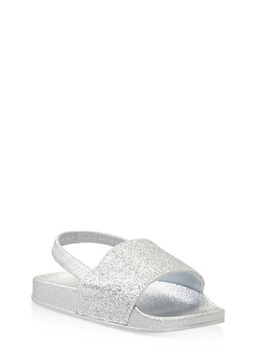 Girls 5-10 Glitter Slingback Slides,SILVER,large