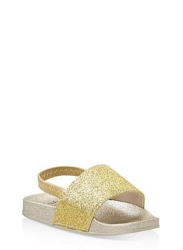 Girls 5-10 Glitter Slingback Slides,GOLD,large