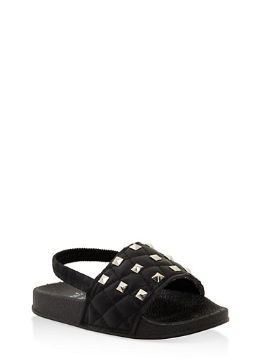 Girls 5-10 Studded Slingback Slides,BLACK,large