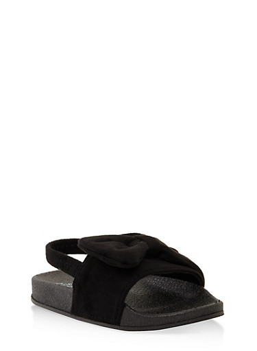 Girls 5-10 Bow Slingback Slides,BLACK,large