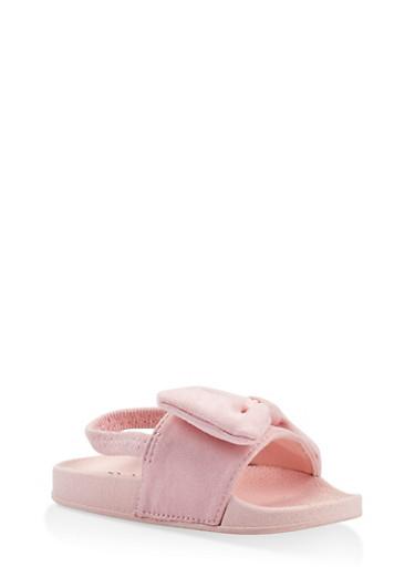Girls 5-10 Bow Detail Slingback Slides,PINK,large