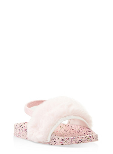 Girls 5-10 Faux Fur Slingback Slides,PINK,large