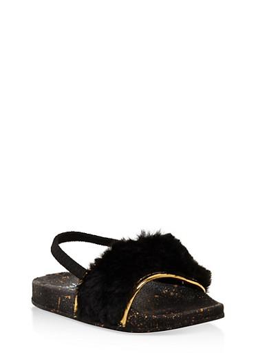 Girls 5-10 Faux Fur Slingback Slides,BLACK,large