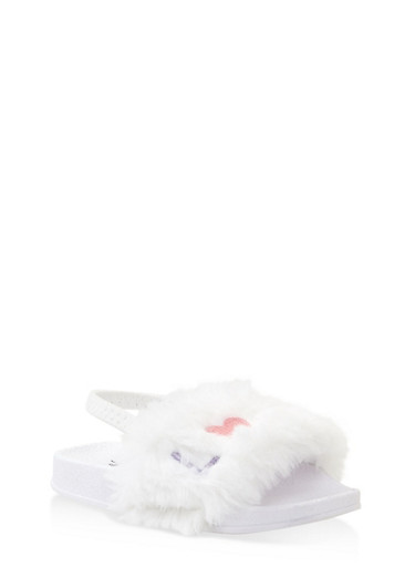 Girls 5-10 Embroidered Faux Fur Slingback Slides,WHITE,large