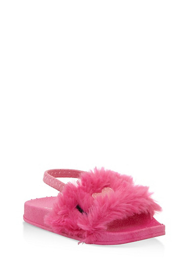 Girls 5-10 Embroidered Faux Fur Slingback Slides,PINK,large