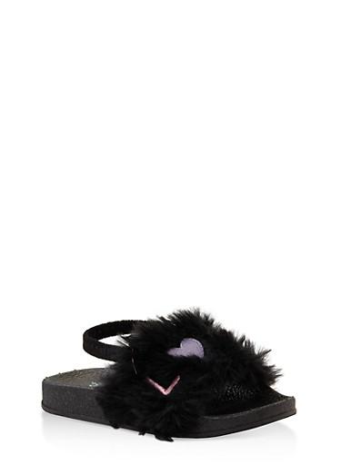 Girls 5-10 Embroidered Faux Fur Slingback Slides,BLACK,large