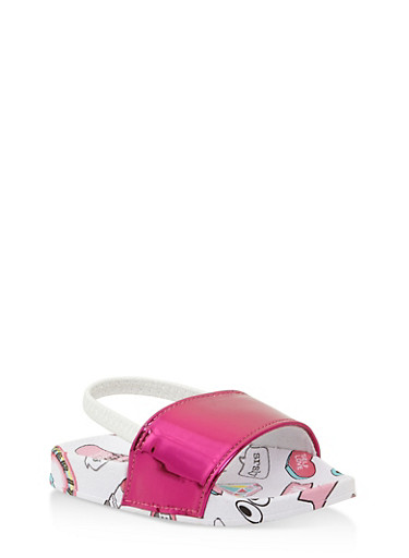 Girls 5-10 Printed Slingback Slides,PINK,large