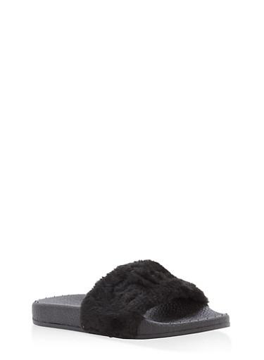 Girls 10-4 Embroidered Faux Fur Slides,BLACK,large