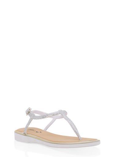 Girls 10-4 Glitter Thong Sandals,SILVER,large