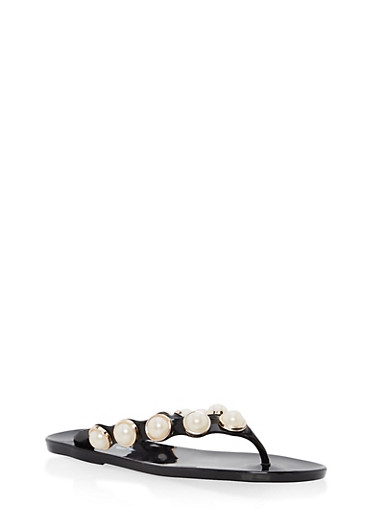 Girls 10-4 Faux Pearl Studded Thong Sandals,BLACK,large