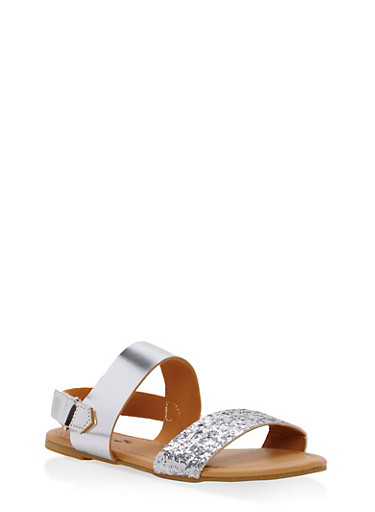 Girls 10-4 Glitter Strap Sandals,SILVER,large