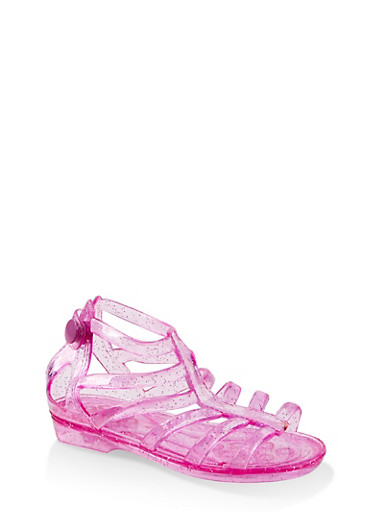 Girls 5-10 Glitter Jelly Gladiator Sandals,PINK,large