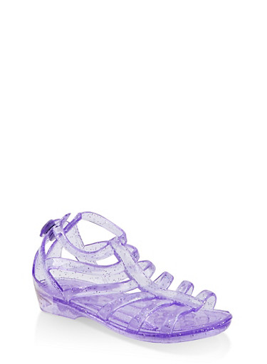 Girls 10-4 Glitter Jelly Gladiator Sandals,PURPLE,large