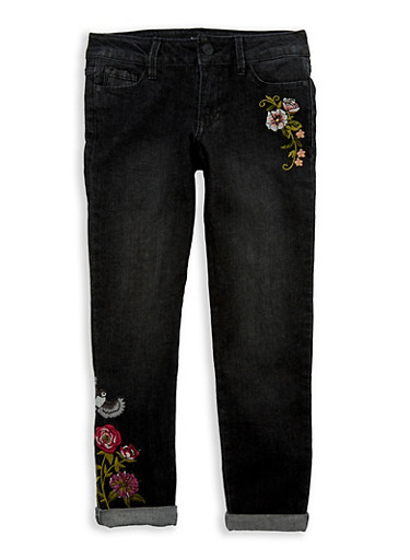 Girls 7-16 Buffalo David Bitton Embroidered Skinny Jeans,BLACK DENIM,large
