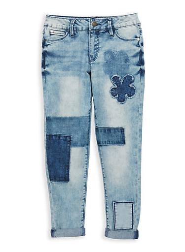 Girls 7-16 Buffalo David Bitton Denim Patch Jeans,MEDIUM WASH,large