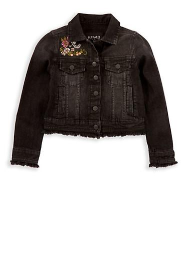 Girls 7-16 Buffalo David Bitton Embroidered Denim Jacket,BLACK DENIM,large