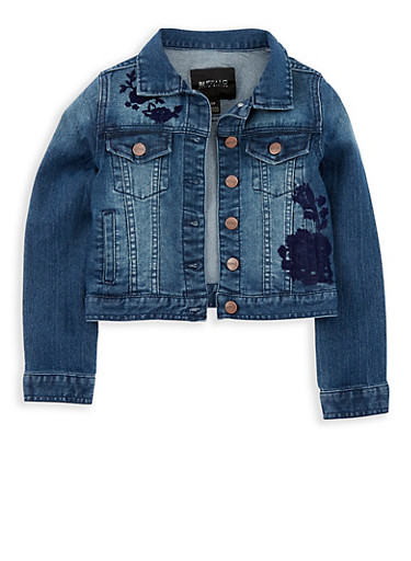 Girls 7-16 Buffalo David Bitton Embroidered Jean Jacket,DARK WASH,large