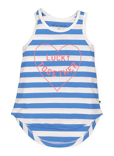 Girls 4-6x Lucky Brand Striped Graphic Tank Top,BLUE,large