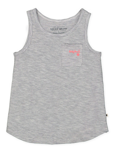 Girls 4-6x Lucky Brand Striped Tank Top,GRAY,large