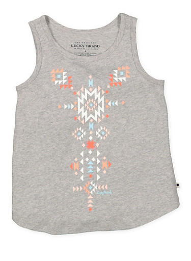 Girls 4-6x Lucky Brand Graphic Tank Top,HEATHER,large