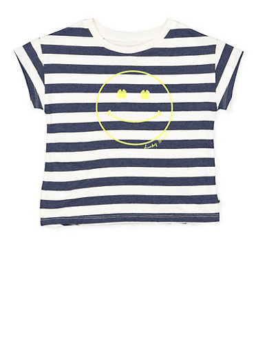 Girls 4-6x Lucky Brand Striped Graphic Tee,MULTI COLOR,large