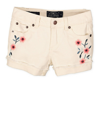 Girls 4-6x Lucky Brand Embroidered Shorts,MULTI COLOR,large