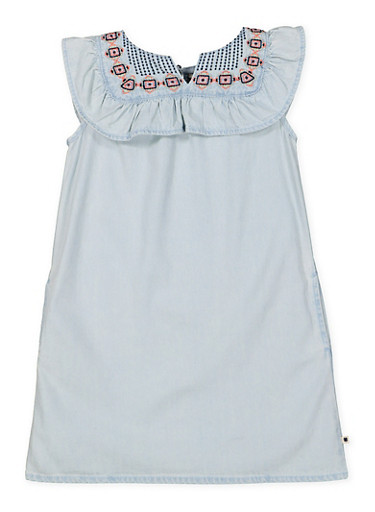 Girls 4-6x Embroidered Denim Shift Dress,MULTI COLOR,large