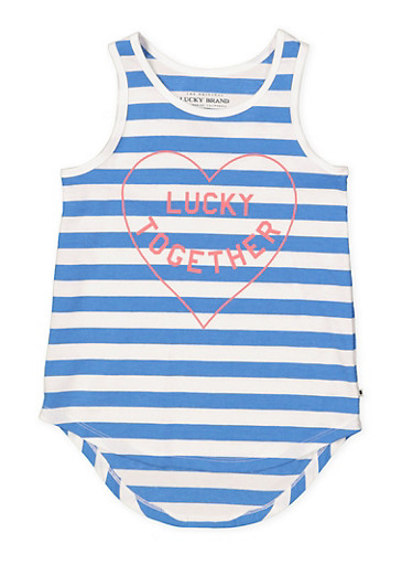 Girls 7-16 Lucky Brand Striped Graphic Tank Top,MULTI COLOR,large