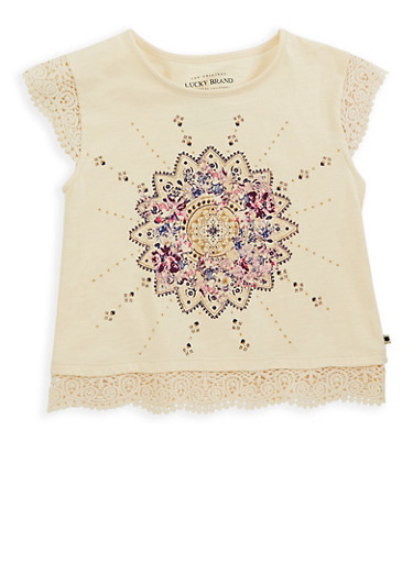 Girls 7-16 Lucky Brand Graphic Crochet Trim Top,NATURAL,large