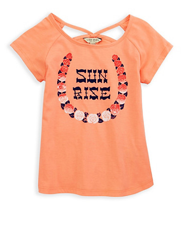 Girls 7-16 Lucky Brand Graphic Cut Out T Shirt,BLUSH,large
