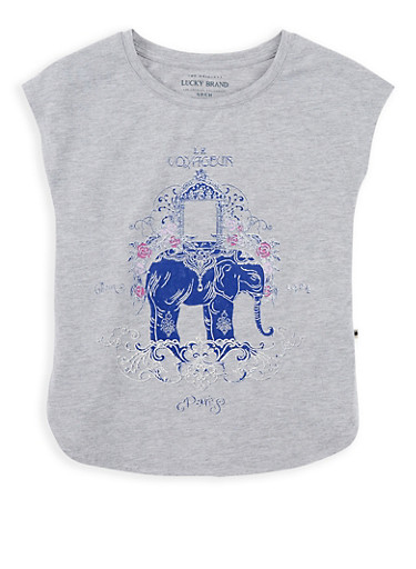 Girls 7-16 Lucky Brand Elephant Graphic Print Top,MULTI COLOR,large