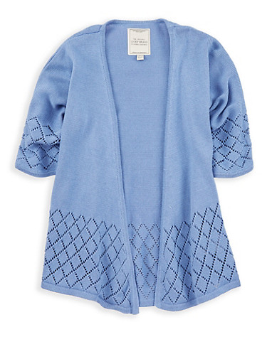 Girls 7-16 Lucky Brand Knit Cardigan,BLUE,large