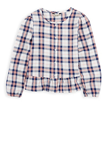 Girls 7-16 Lucky Brand Ruffled Hem Plaid Shirt,MULTI COLOR,large