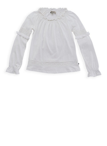 Girls 6-16 Lucky Brand Smocked Long Sleeve Top,IVORY,large