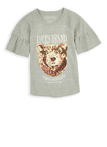 Girls 7-16 Lucky Brand Sequin Graphic Tee,HEATHER,large